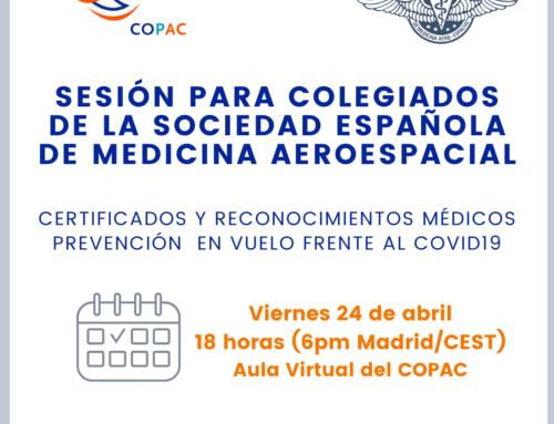 SESIÓN PARA COLEGIADOS DE LA SOCIEDAD ESPAÑOLA DE MEDICINA AEROESPACIAL